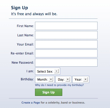 Opening Screen of Facebook.com