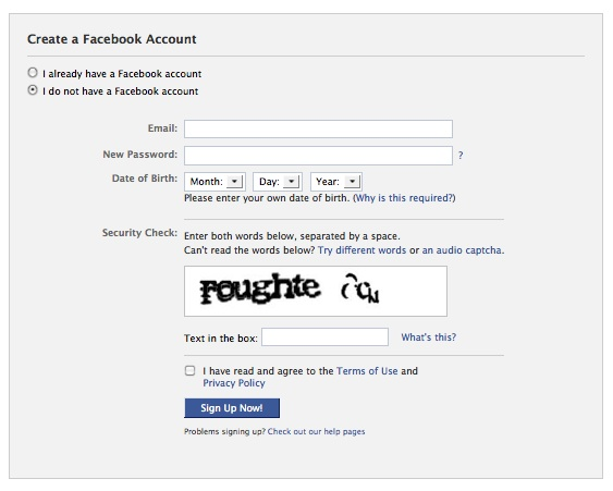 Facebook sign up, sign in screen
