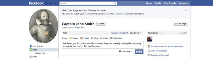 Captain John Smith Facebook Page