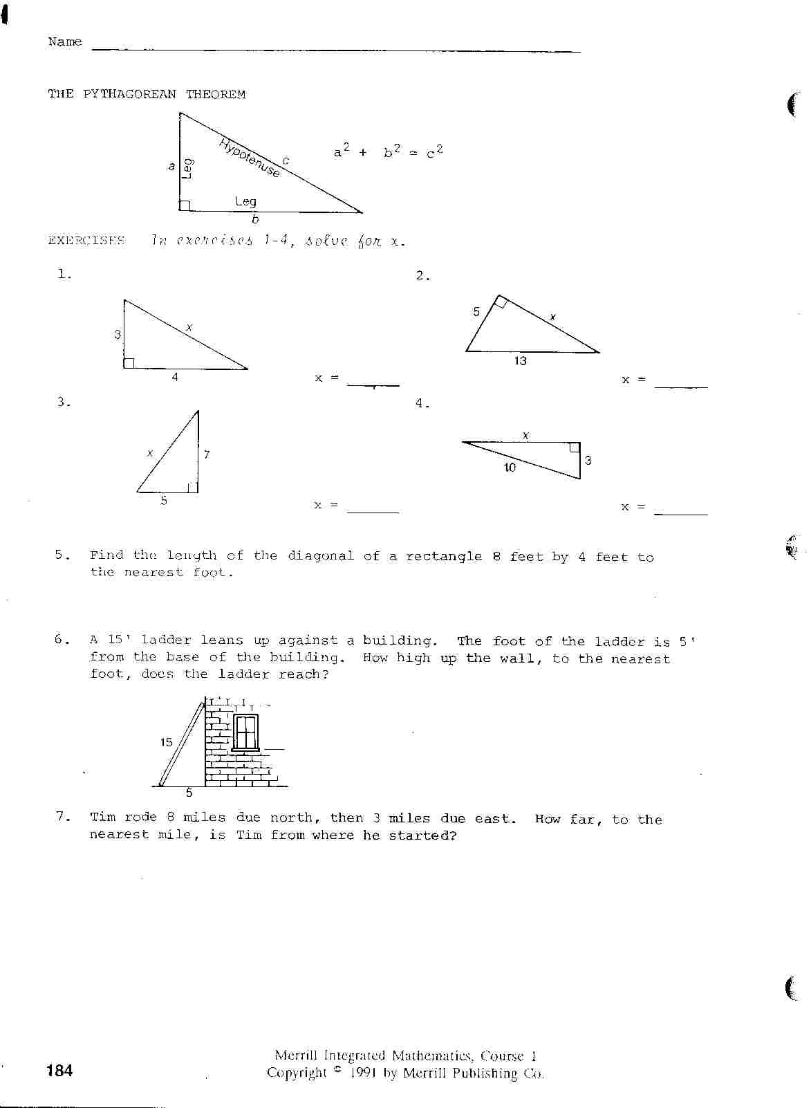 Mt Baker Student Observation Project – Integrated Math 2 Worksheets