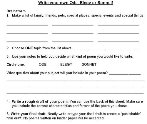 How To Write A Sonnet Worksheet Free Worksheets Library | Download ...