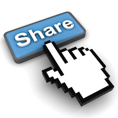 Finger that points to share button