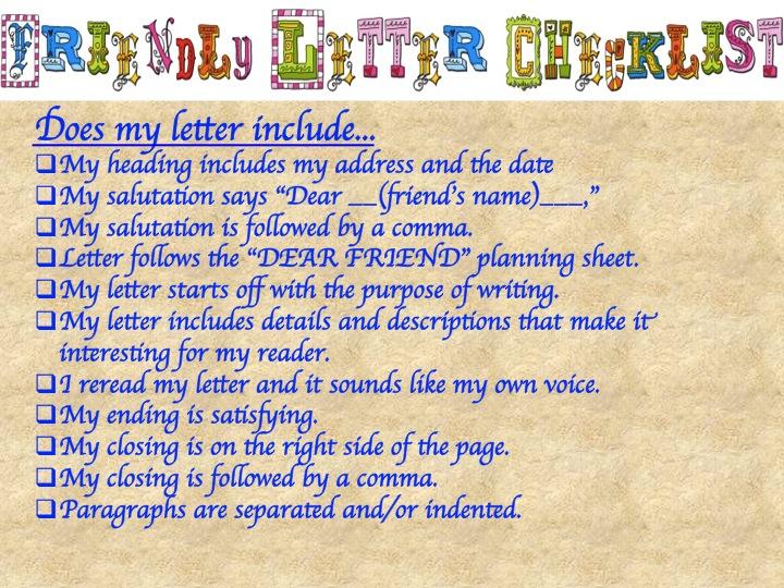 friendly letter checklist